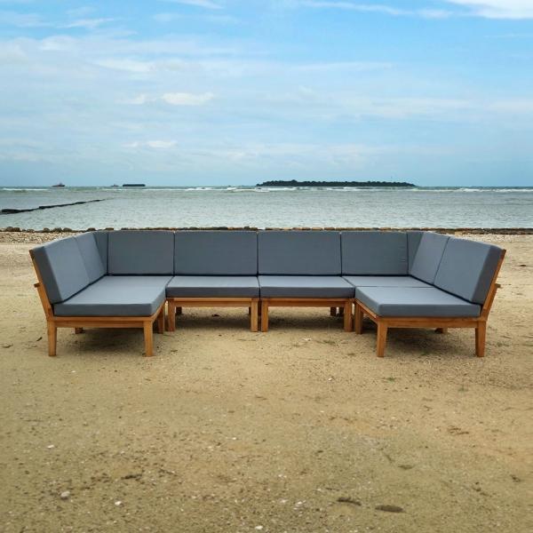 Jakarta Deep Seating Teak Sectional with Cushion