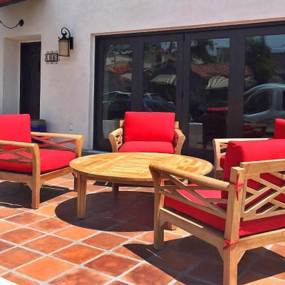 Malibu 5pc Teak Outdoor Chat Group with Sunbrella Cushions
