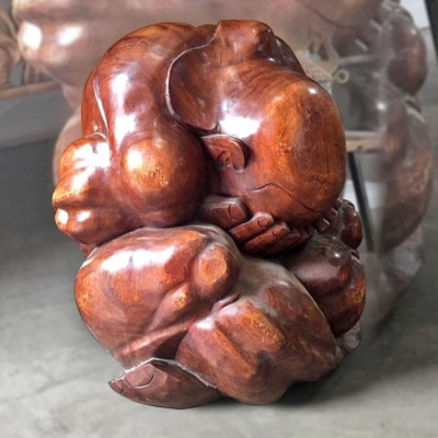 "Teak Sculpture ""The Weeping Buddha"""