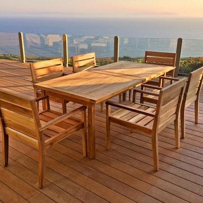 Teak 7 Piece Dining Set With Sunbrella Cushions