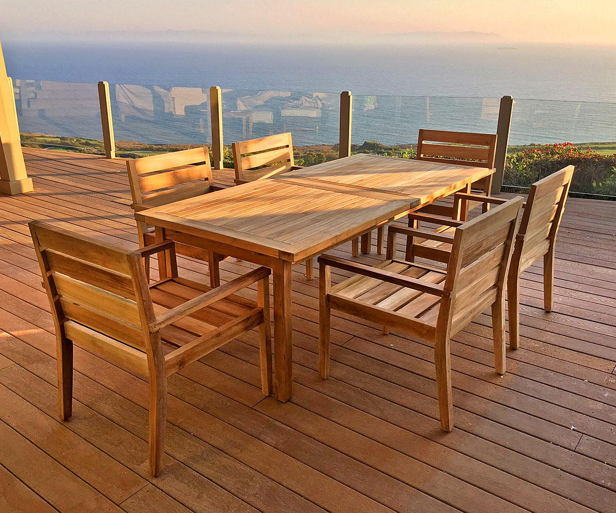 Teak 7 Piece Dining Set With Sunbrella Cushions Iksun Teak Patio Furniture Sale