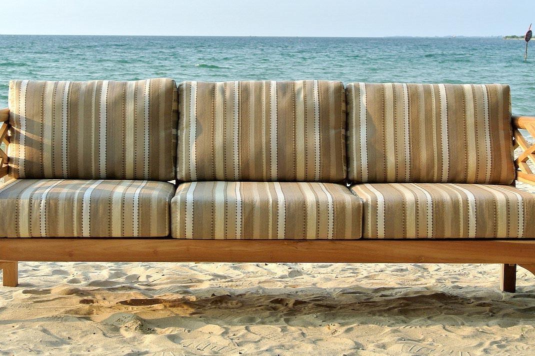 Malibu Teak Outdoor Sofa With Sunbrella, Teak Patio Furniture Cushions
