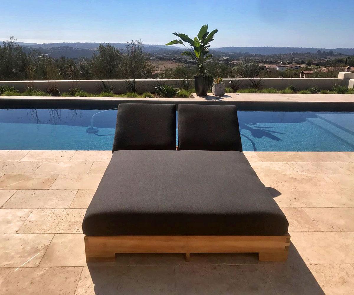 - Teak Double Chaise Lounge With Sunbrella Cushion - IKsun Teak Patio  Furniture SALE