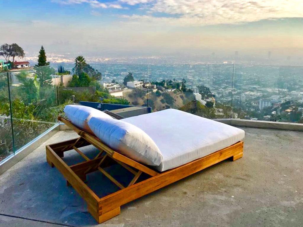Teak Double Chaise Lounge With Sunbrella Cushion Iksun