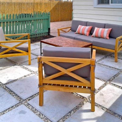Iksun Teak LA 4pcs Teak Seating Set Chair