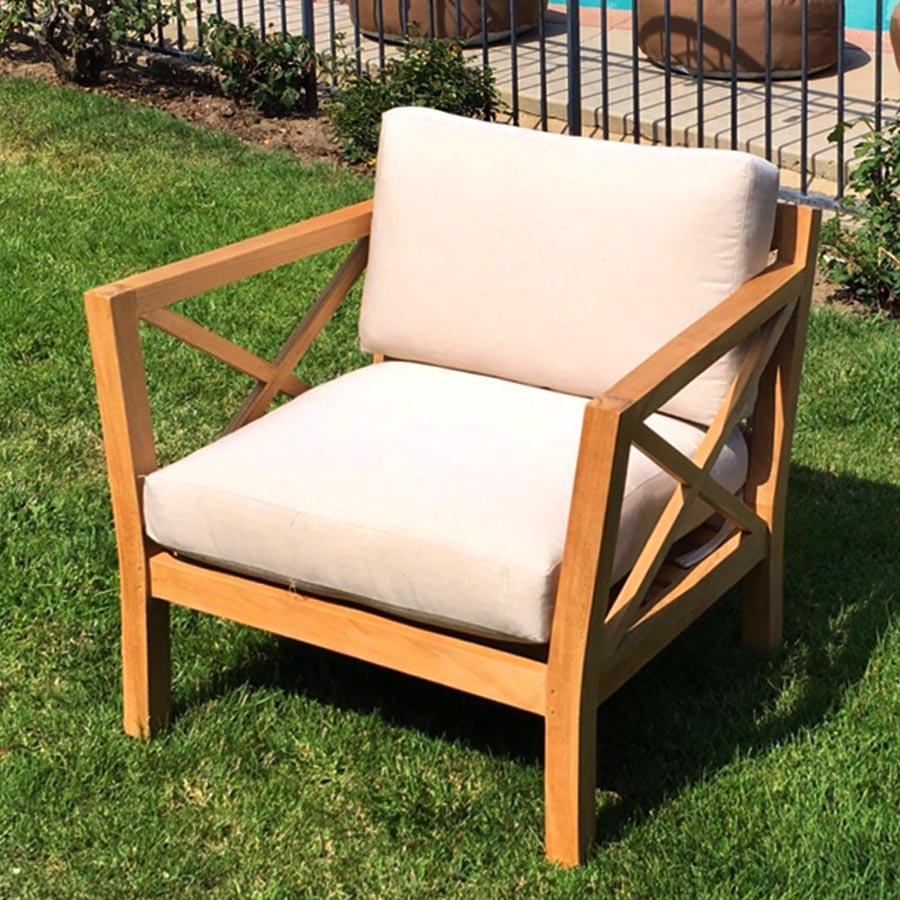LA Teak Club Chair with Sunbrella Cushions - IKsun Teak ...