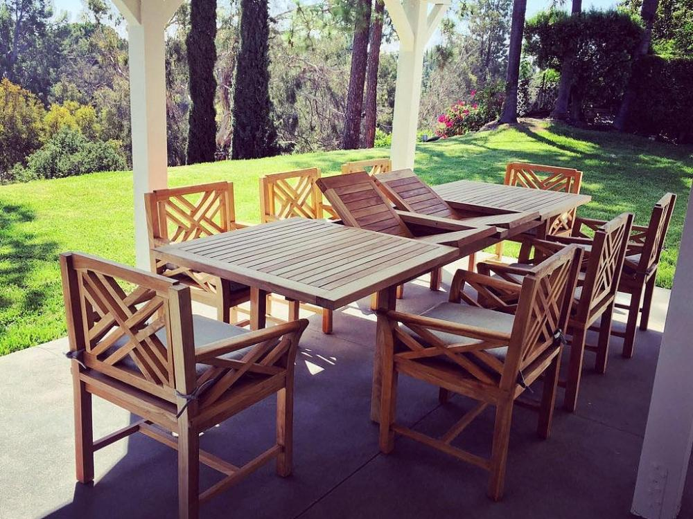 Malibu Outdoor Teak 9 Piece Dining Set With Cushion
