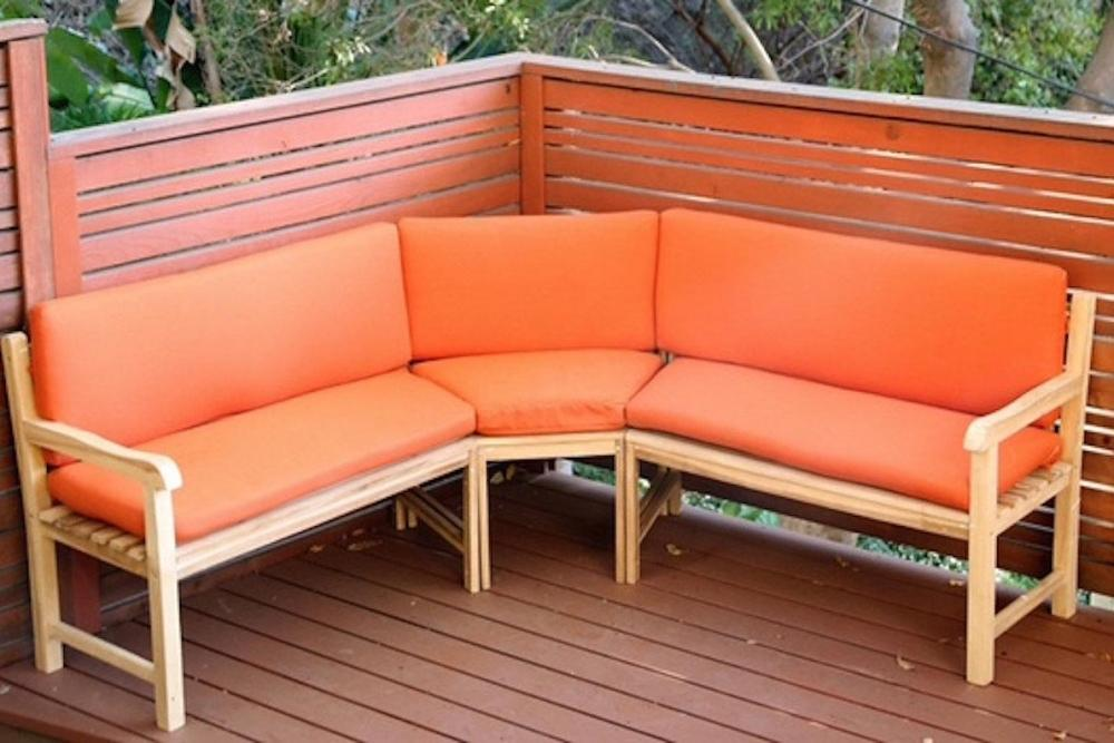 Outdoor Teak Sectional Bench with Sunbrella Cushions