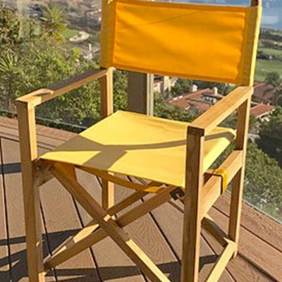 Teak Folding Directors Chairs with Sunbrella