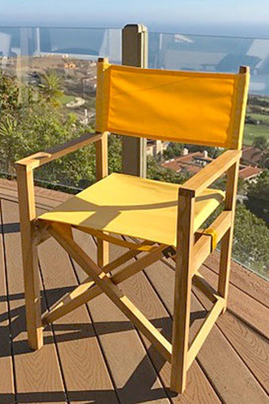 Teak Folding Directors Chairs With Sunbrella Iksun Teak Patio