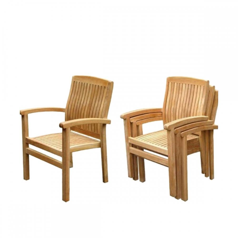 Teak Stacking Dining Arm Chair