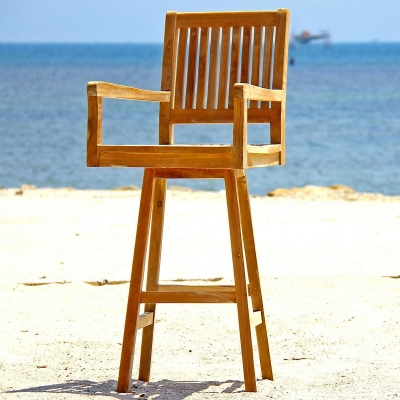 Teak outdoor patio furniture swivel barstool