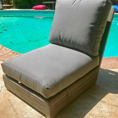 Ventura Teak Patio Armless Chair with Sunbrella Cushion