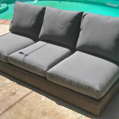 Ventura Teak Patio Armless Sofa with Sunbrella Cushion