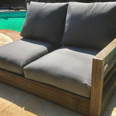 Ventura Teak Patio Corner with Sunbrella Cushion - Left Arm Love Seat Sofa