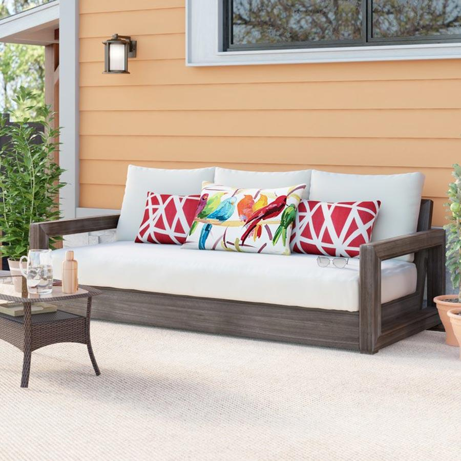 Ventura Teak Patio Sofa With Sunbrella
