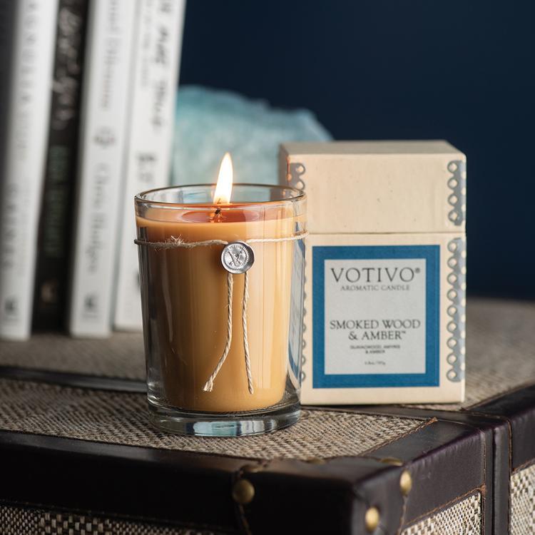 6 8 Oz Aromatic Candle Smoked Wood Amp Amber Iksun Teak